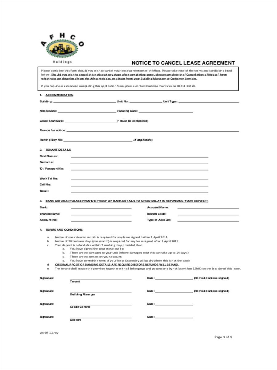notice to cancel lease agreement