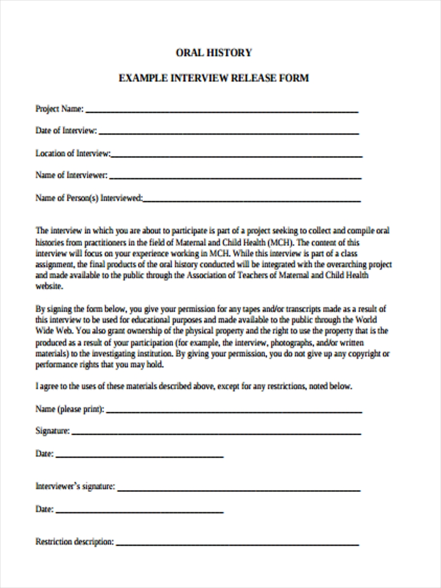 Free 38 Interview Form Templates Pdf