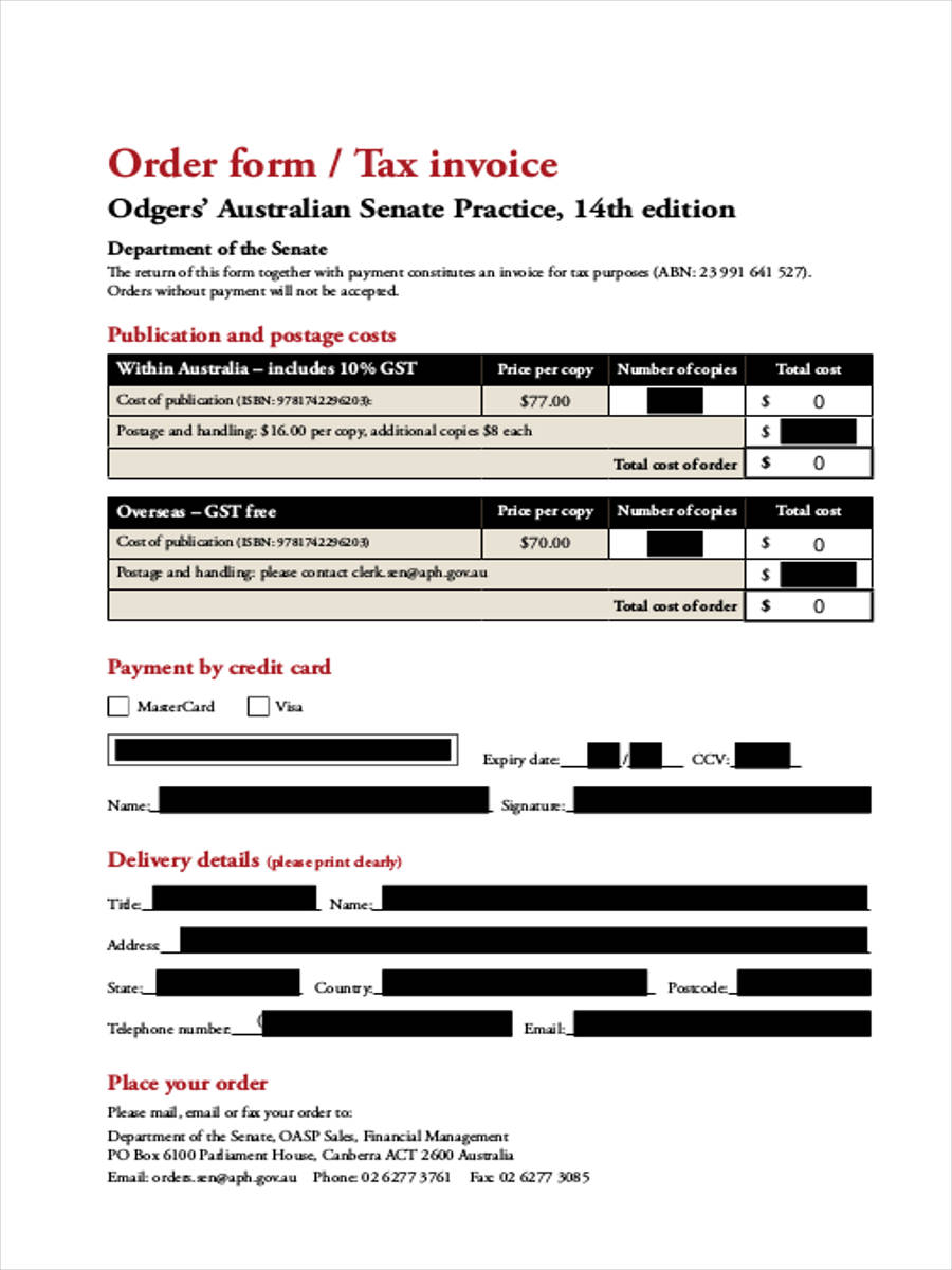 order form tax invoice