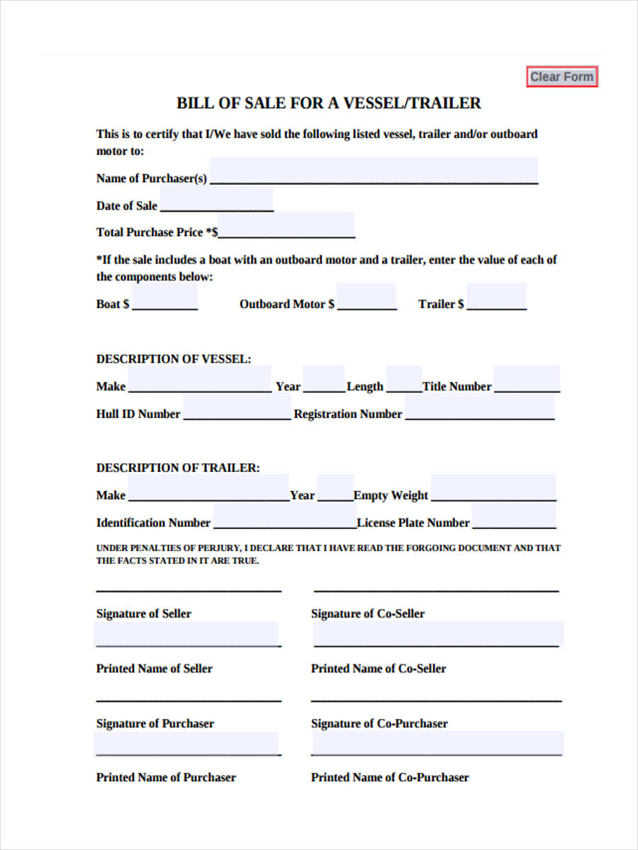 6 motor bill of sale forms free documents in word pdf for Outboard motor bill of sale