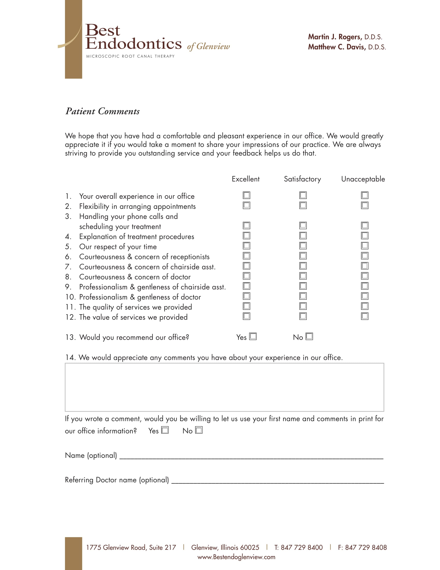 Patient Comment Card Sample  Customer Comment Card Template