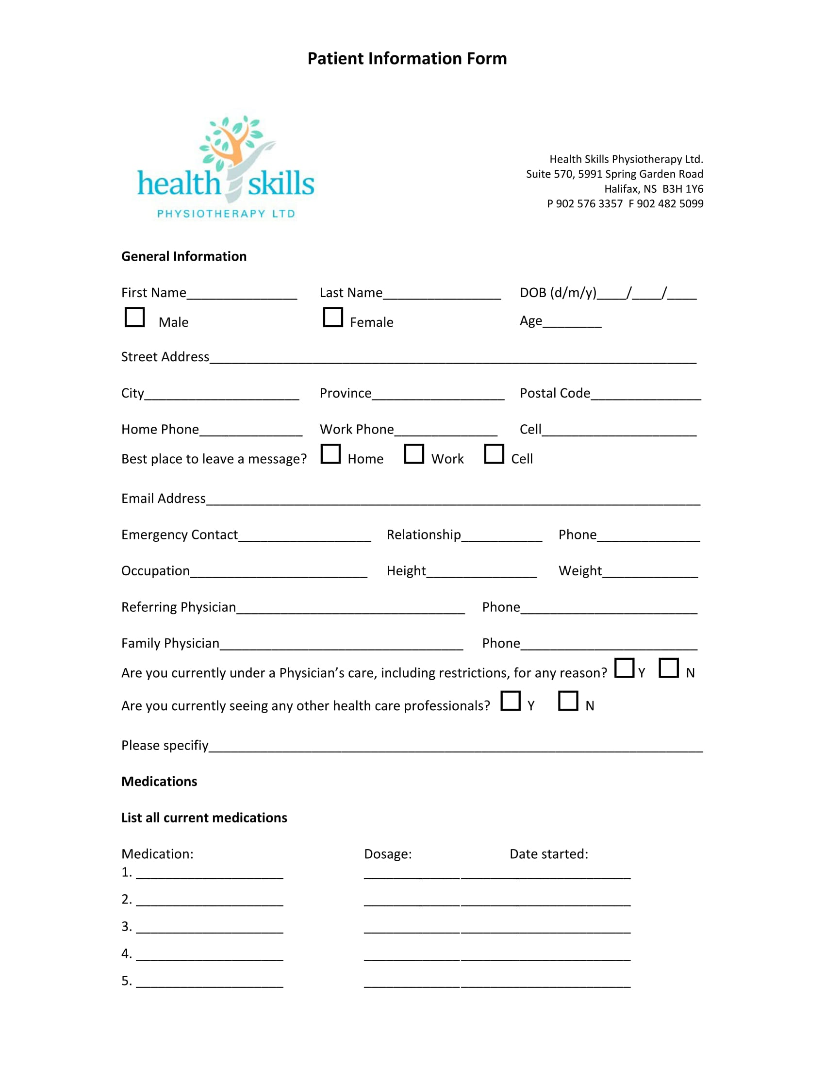 patient information form 1