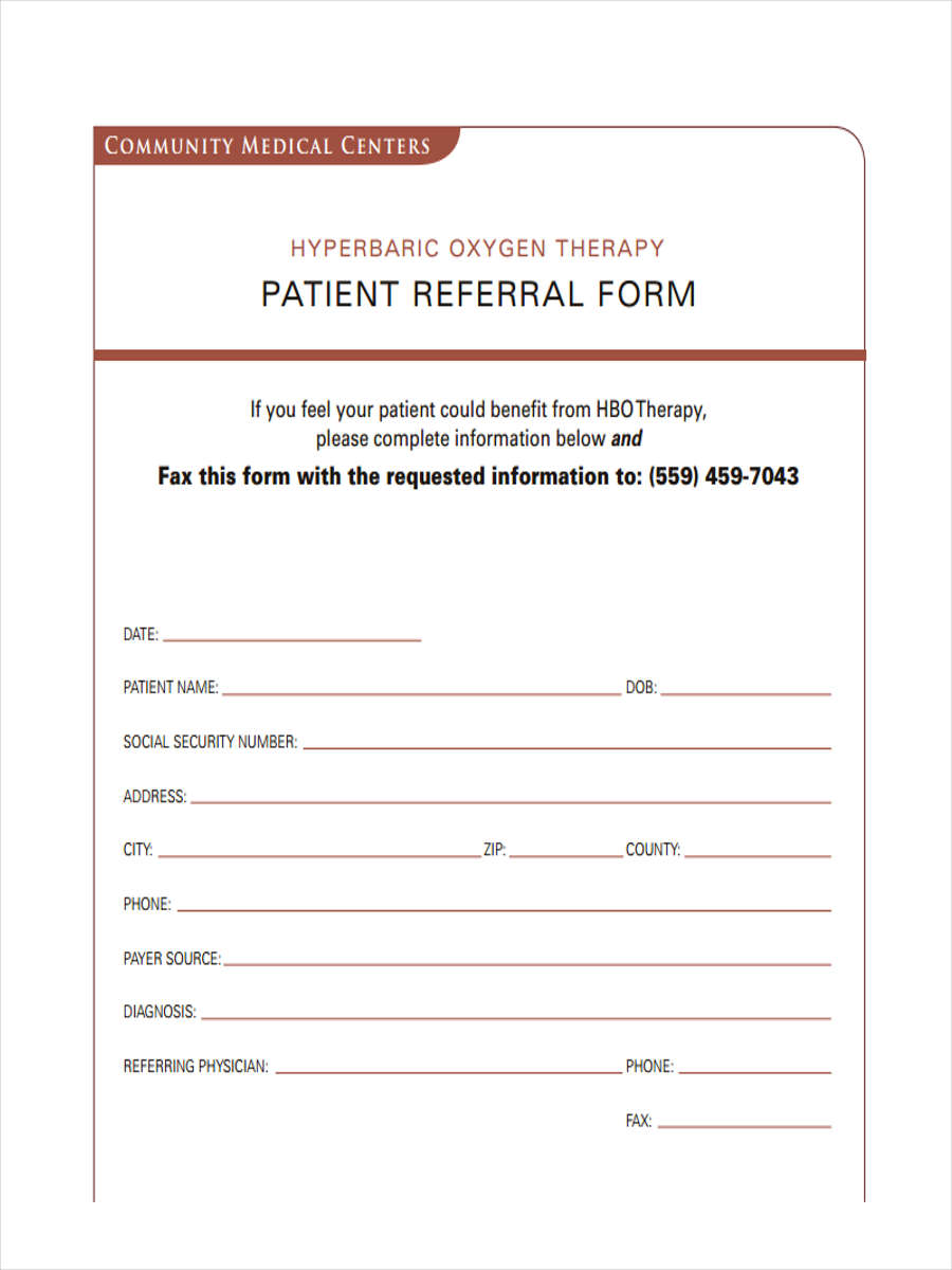 8 medical referral form samples free sample example for Referral document template
