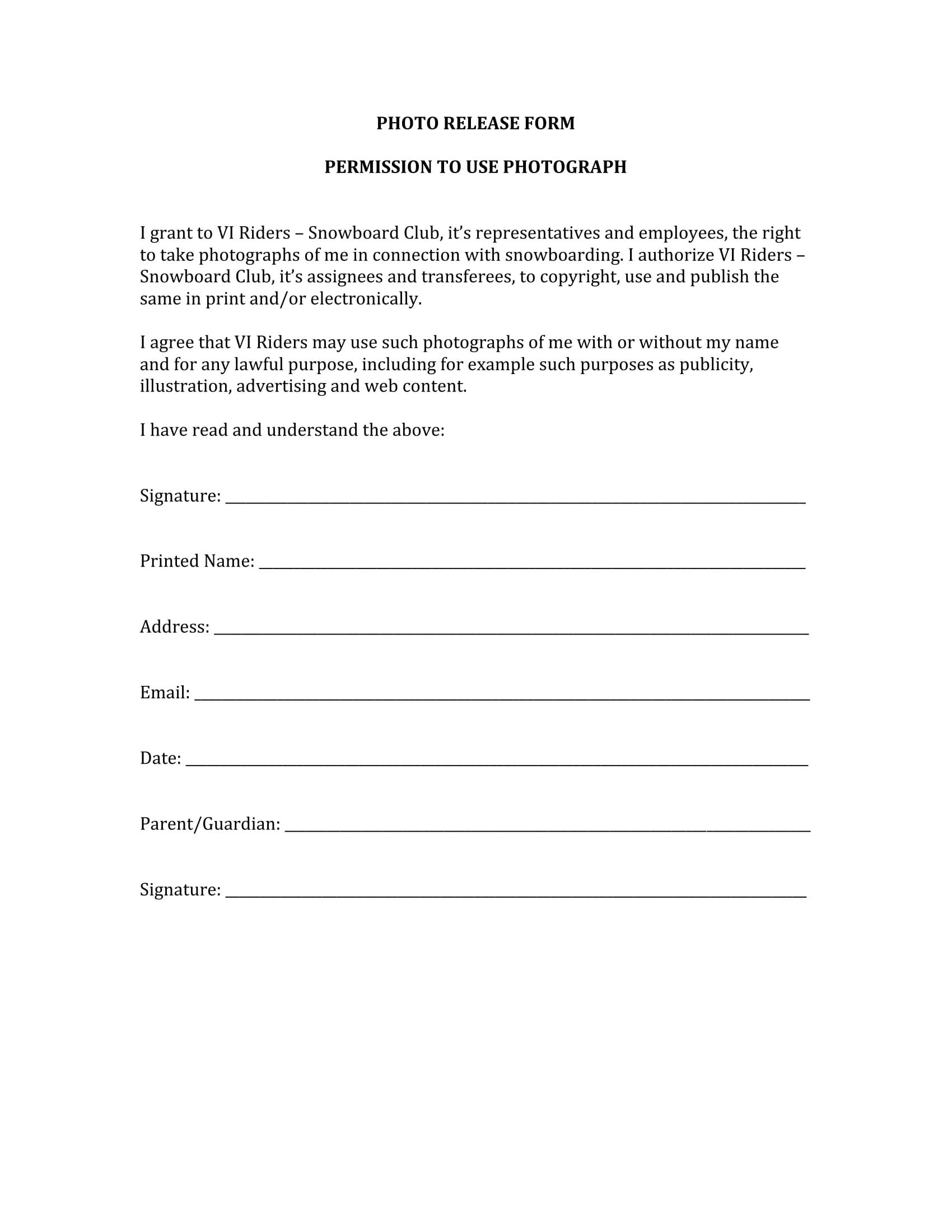 use of image release form