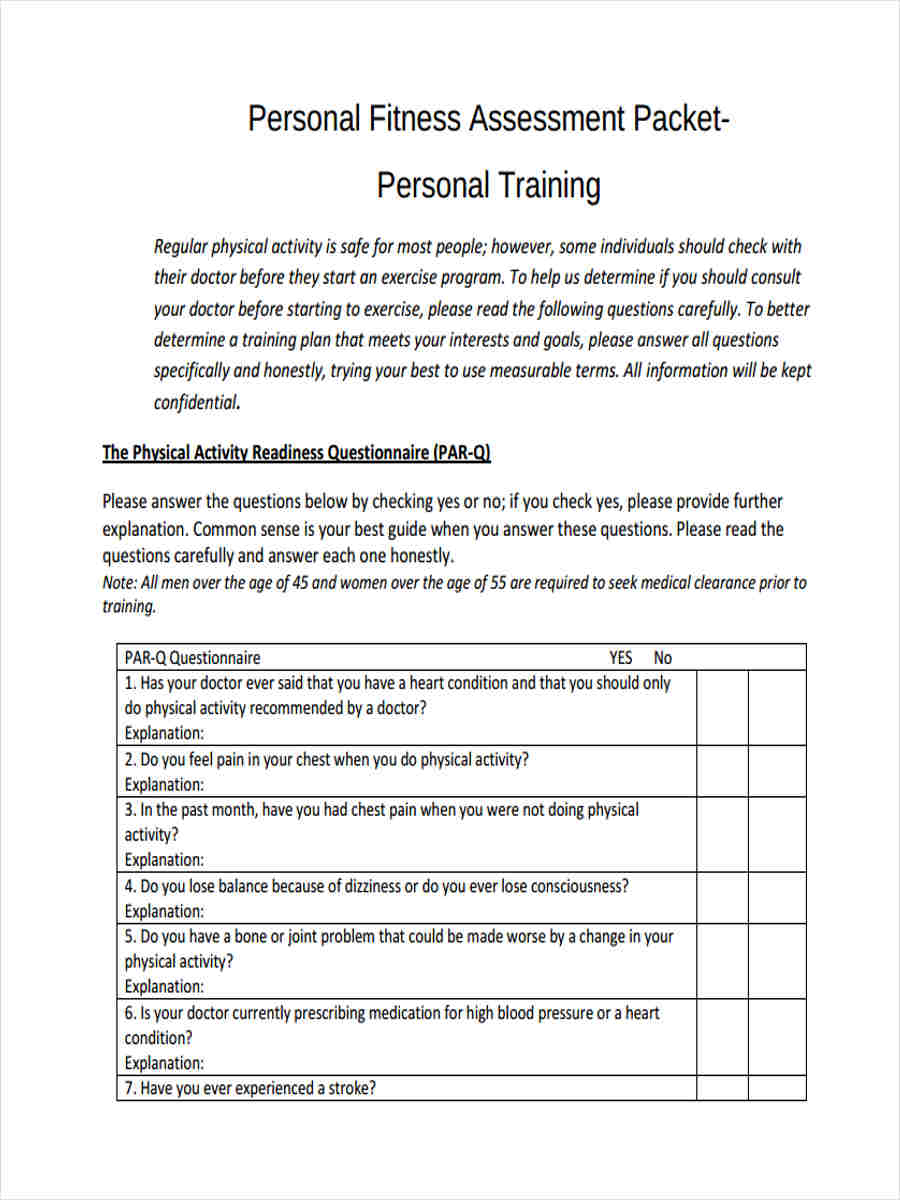 Personal Training Fitness Assessment