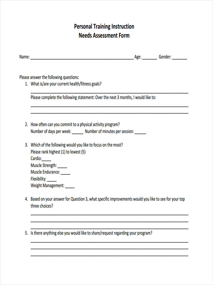 14 Training Assessment Form Examples