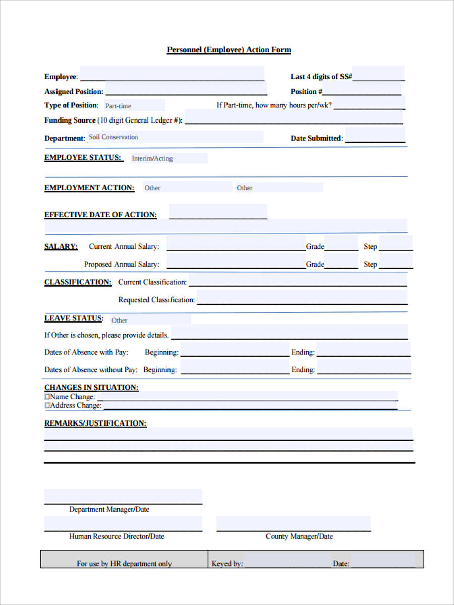 personnel employee action form