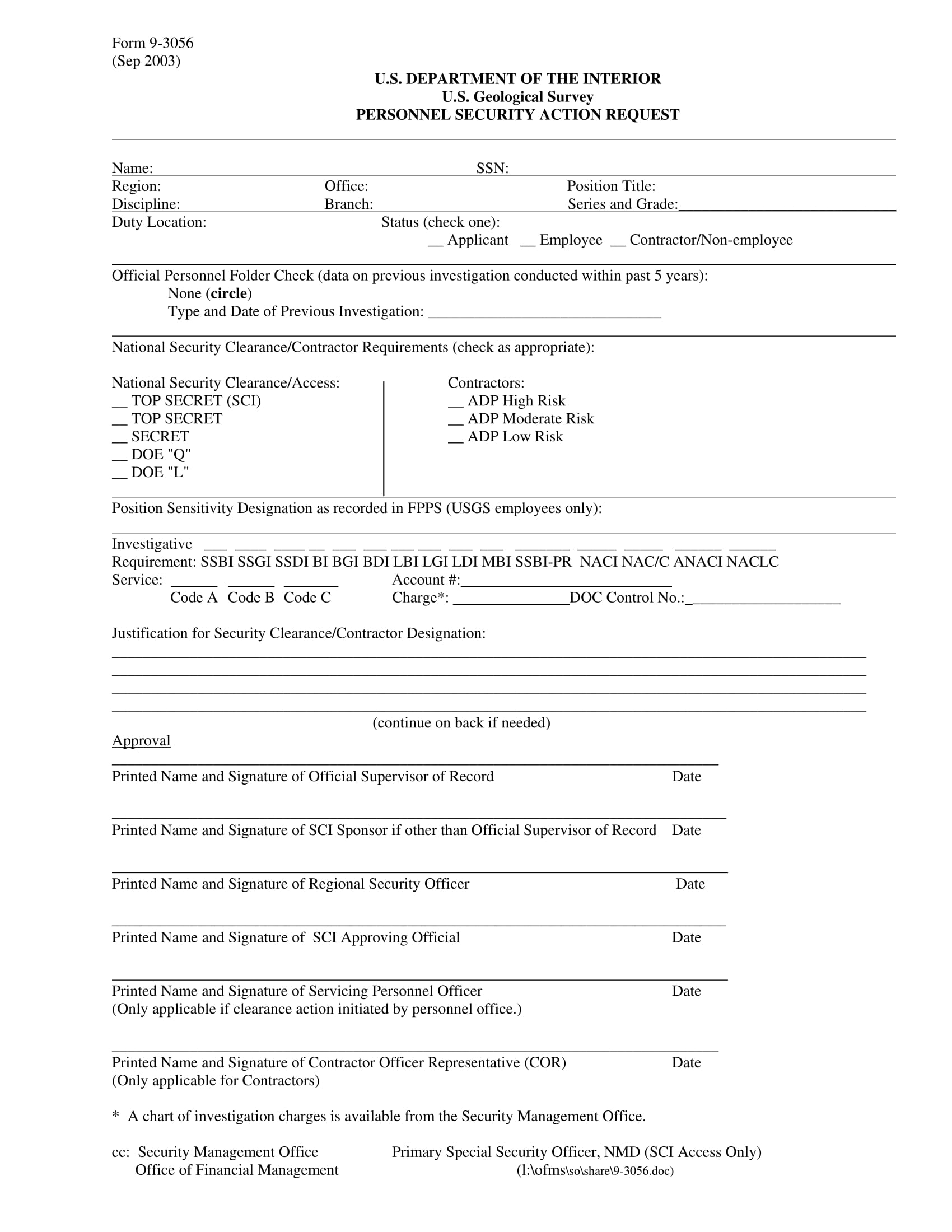 personnel security action request form