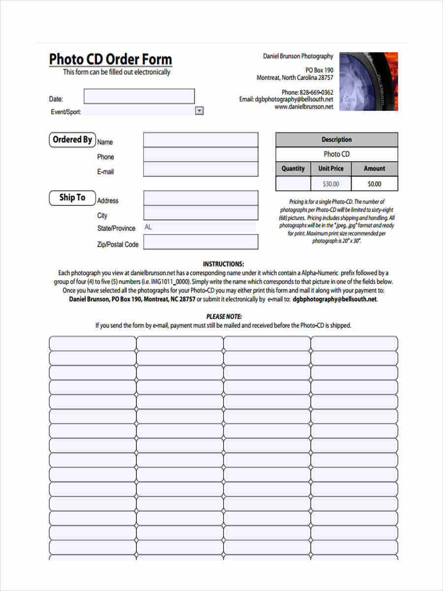 photo cd order form