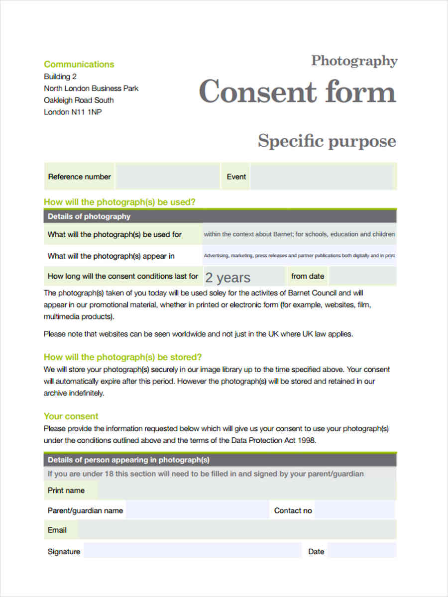 photography business consent