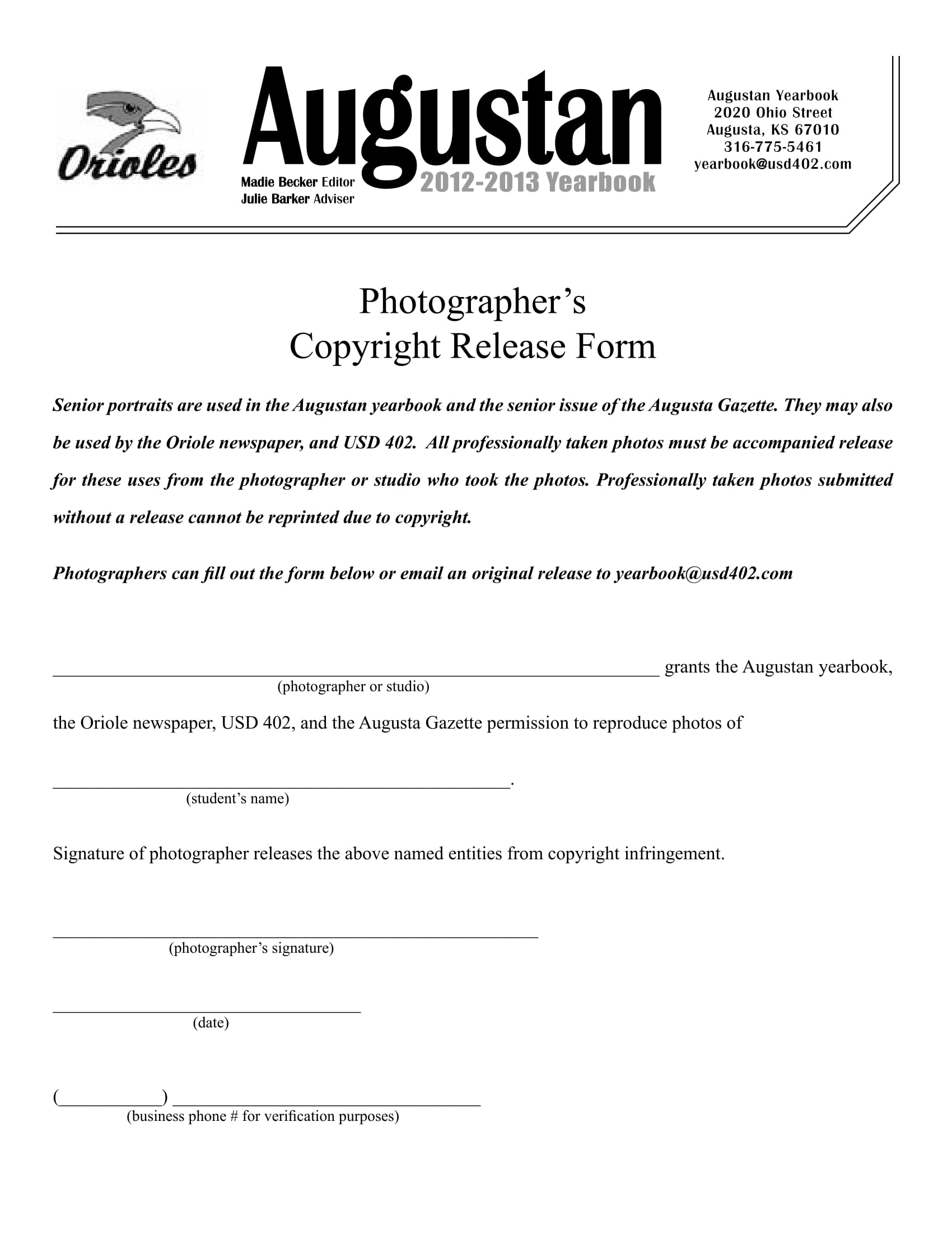 photography copyright release form 1