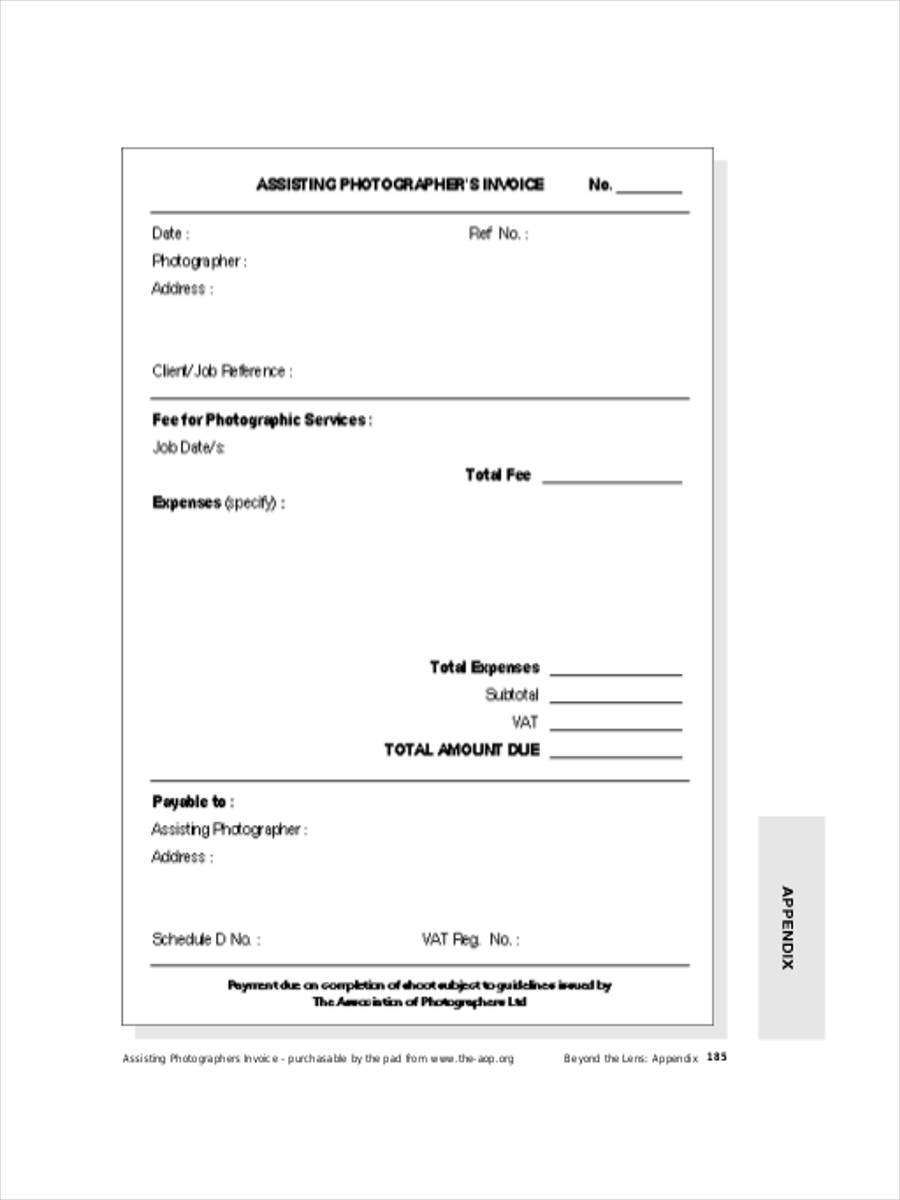 photography invoice example