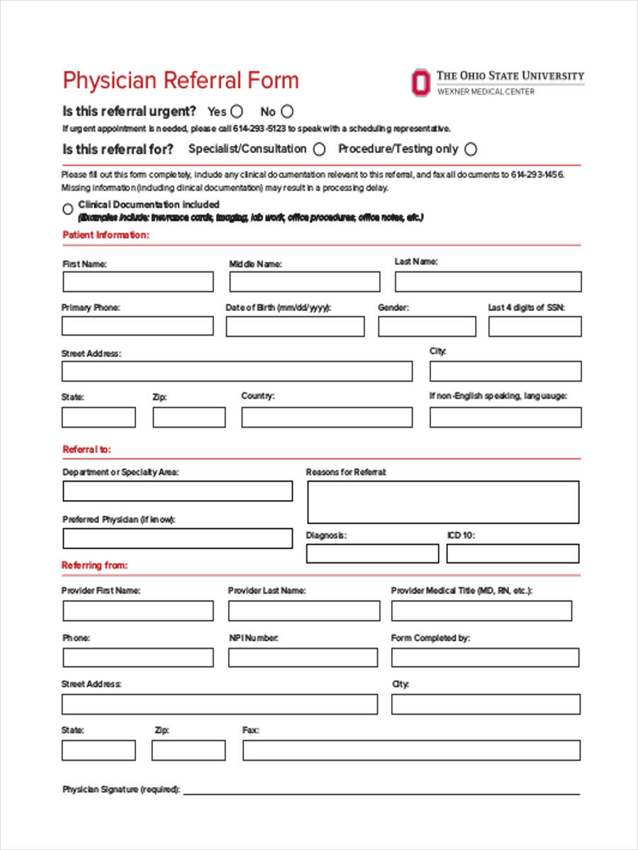 physicians referral form
