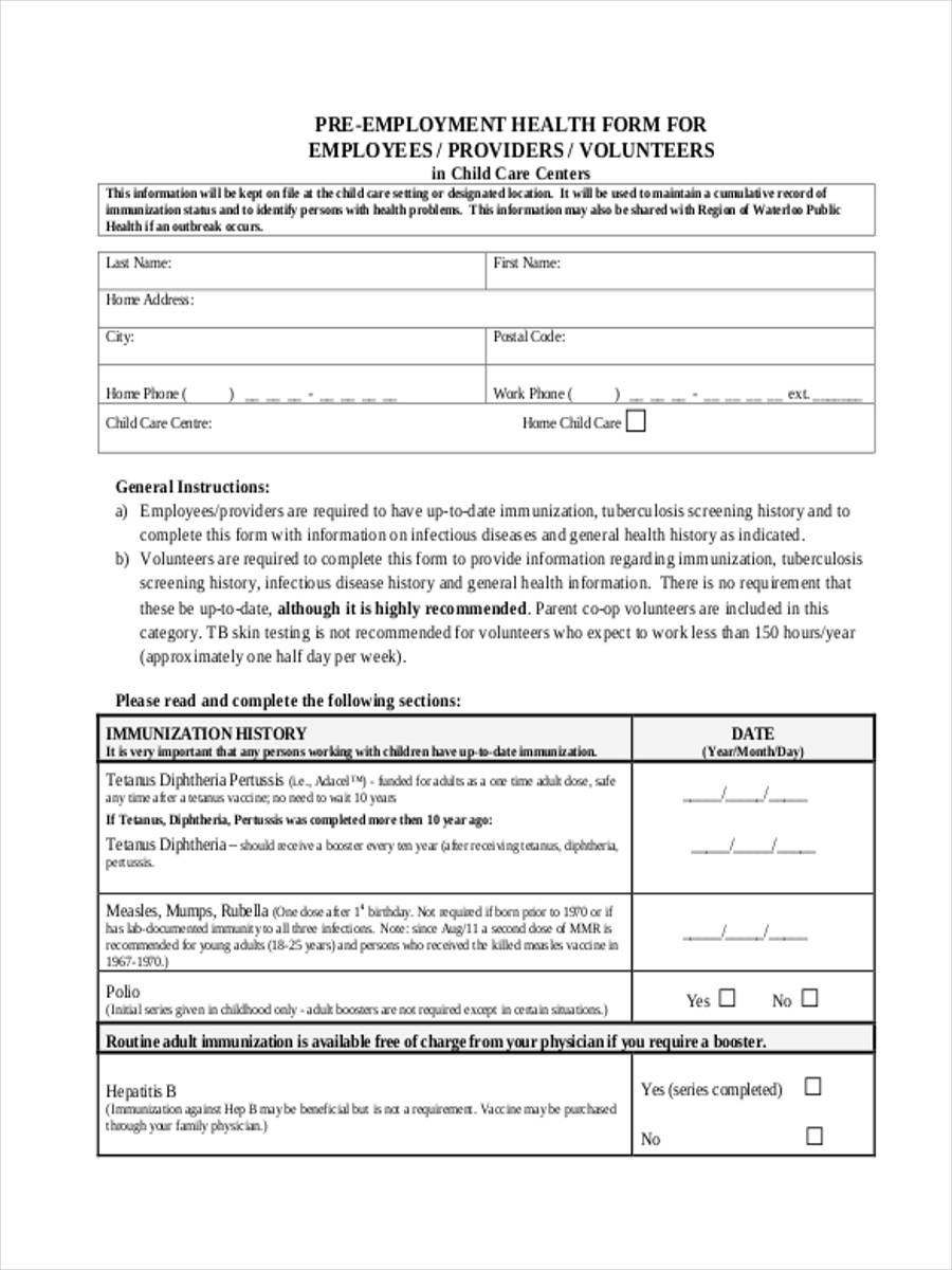 pre employment health form