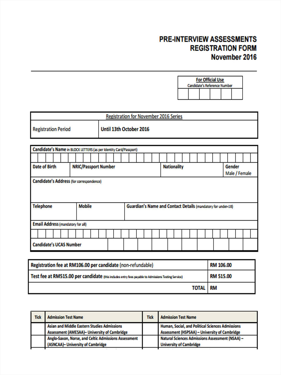 pre interview assessment registration