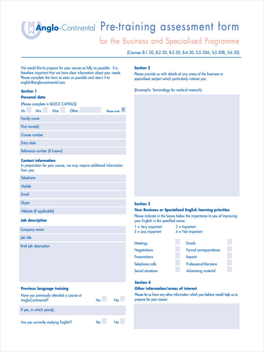pre training assessment in pdf