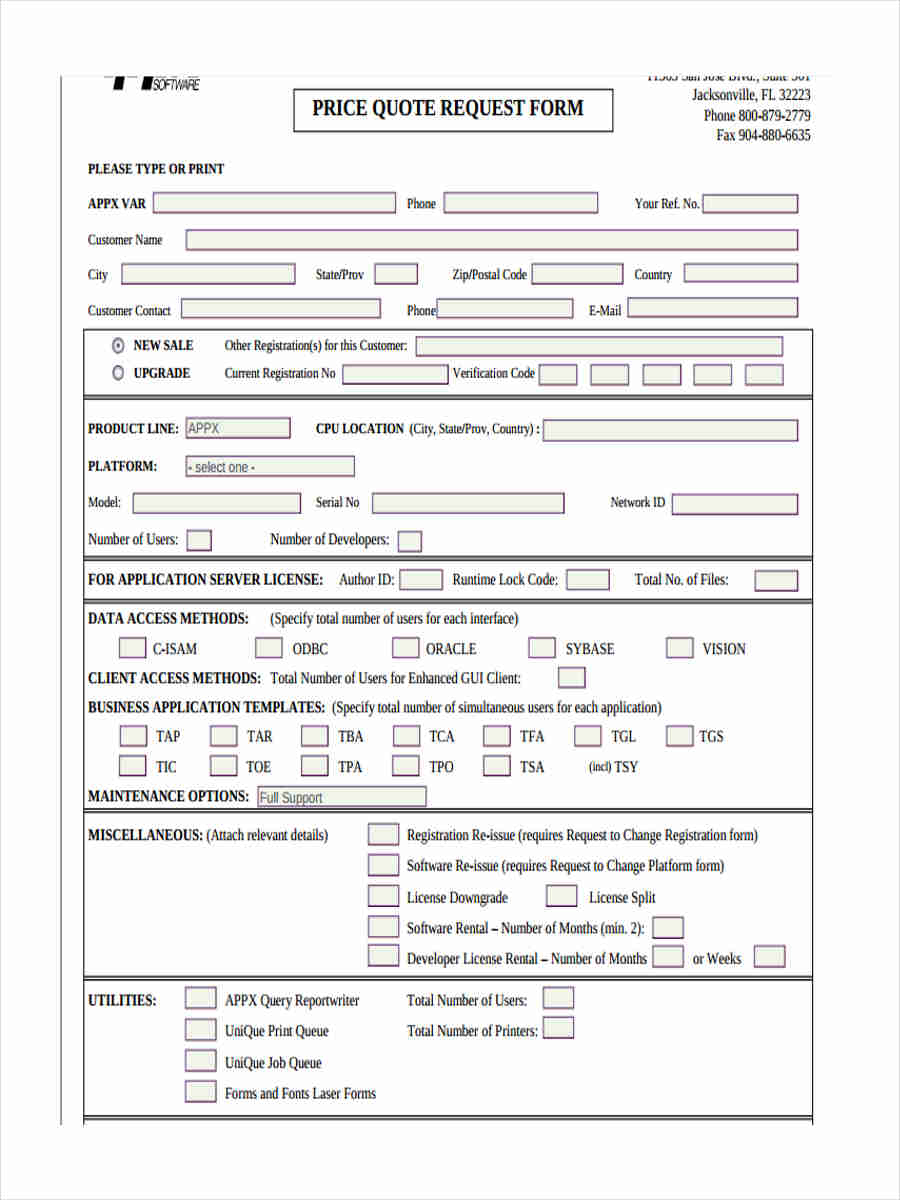 free 9  price quote forms in word
