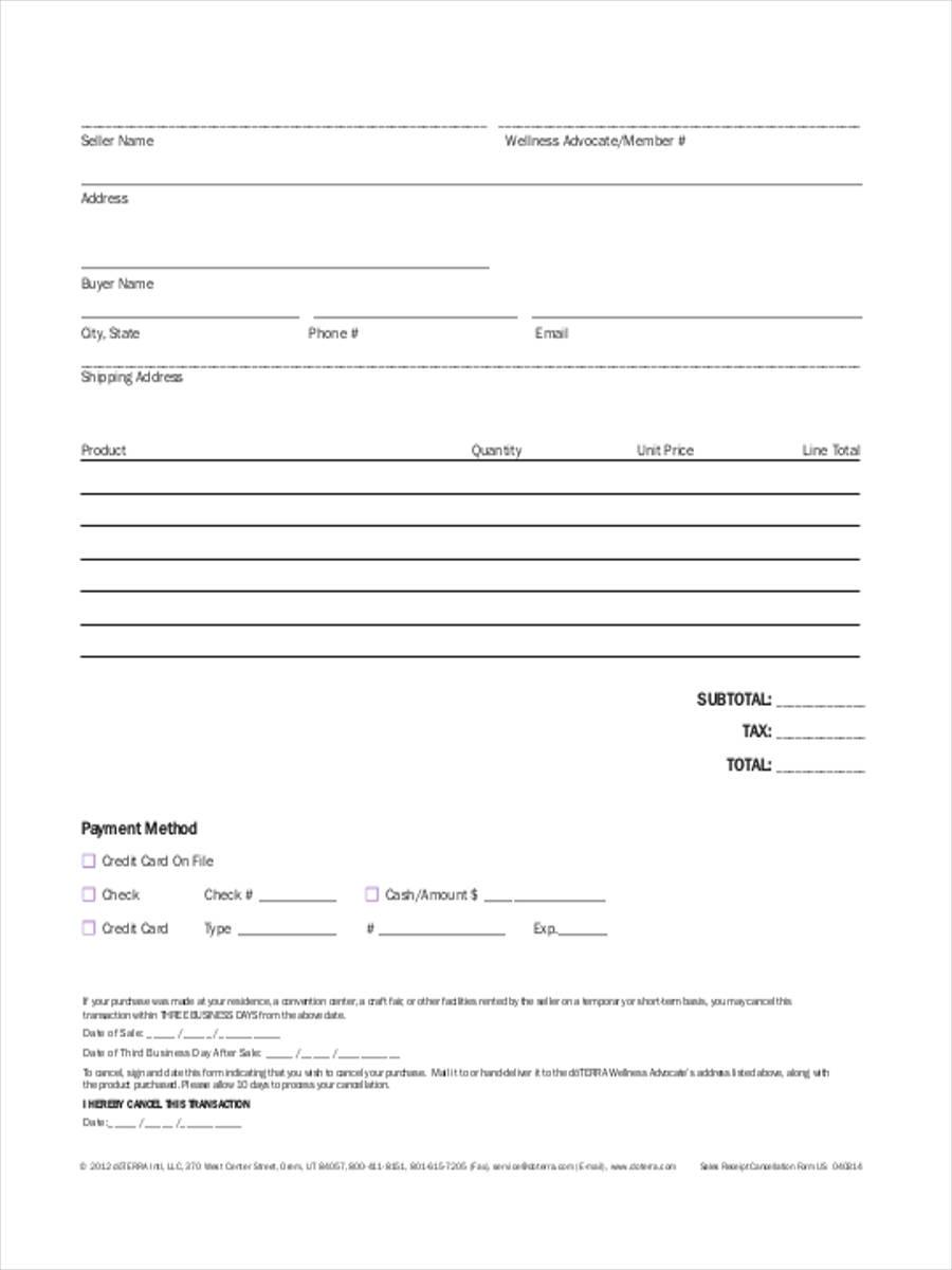 17  blank receipt forms