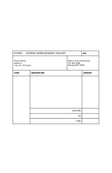 printable expense reimbursement form
