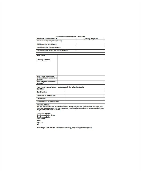 Fashion Order Forms  Free Sample Example Format Download
