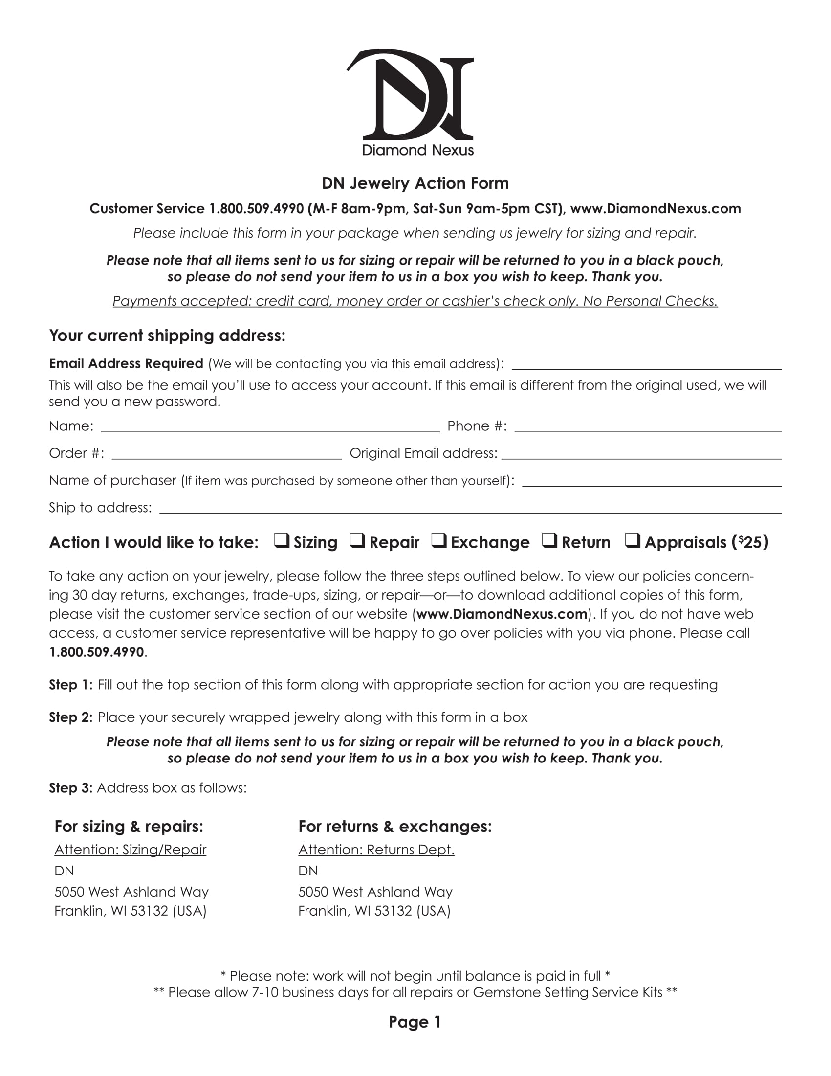 jewelry appraisal form template - 3 jewelry appraisal valuation and action forms
