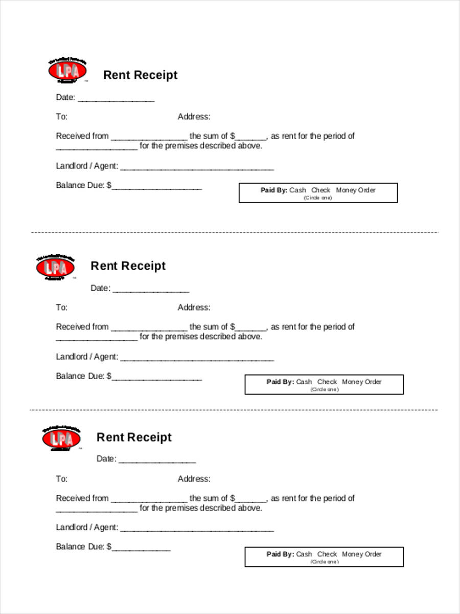 6 Rent Receipt Forms Free Sample Example Format Download