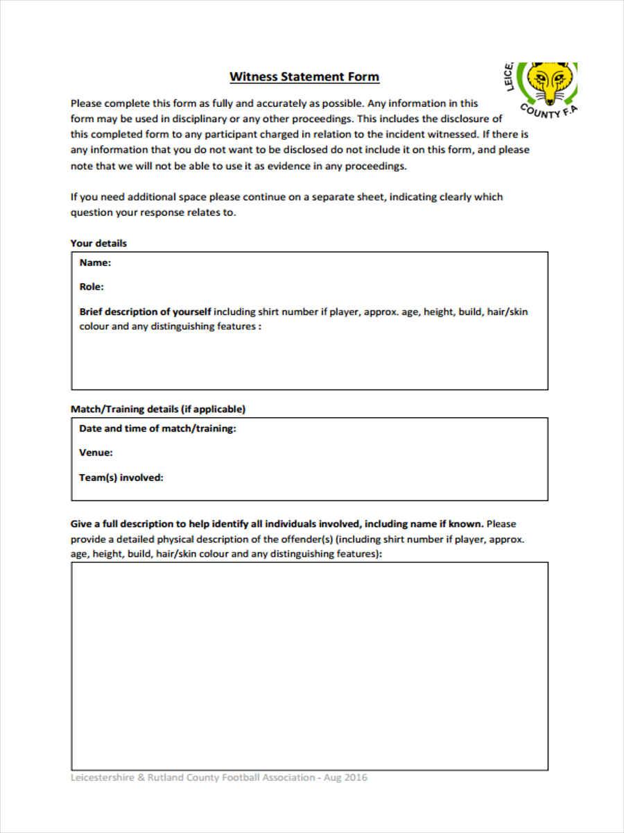 printable witness statement