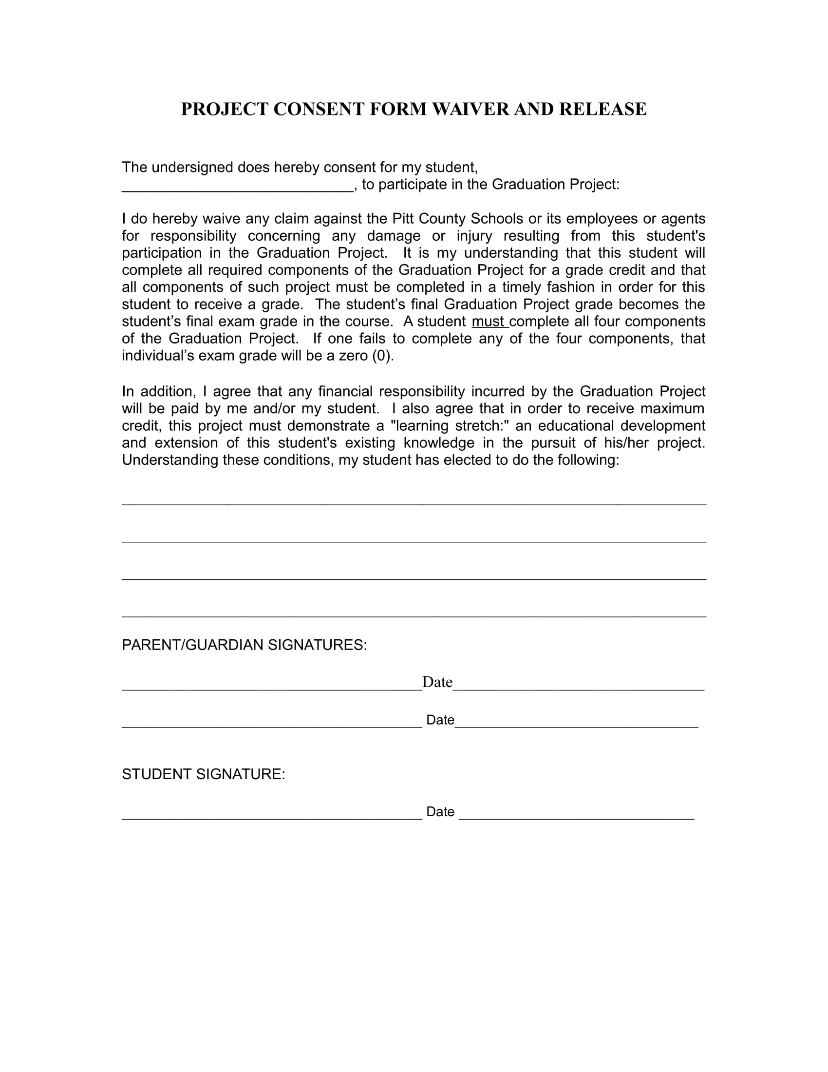 project consent form waiver and release 1