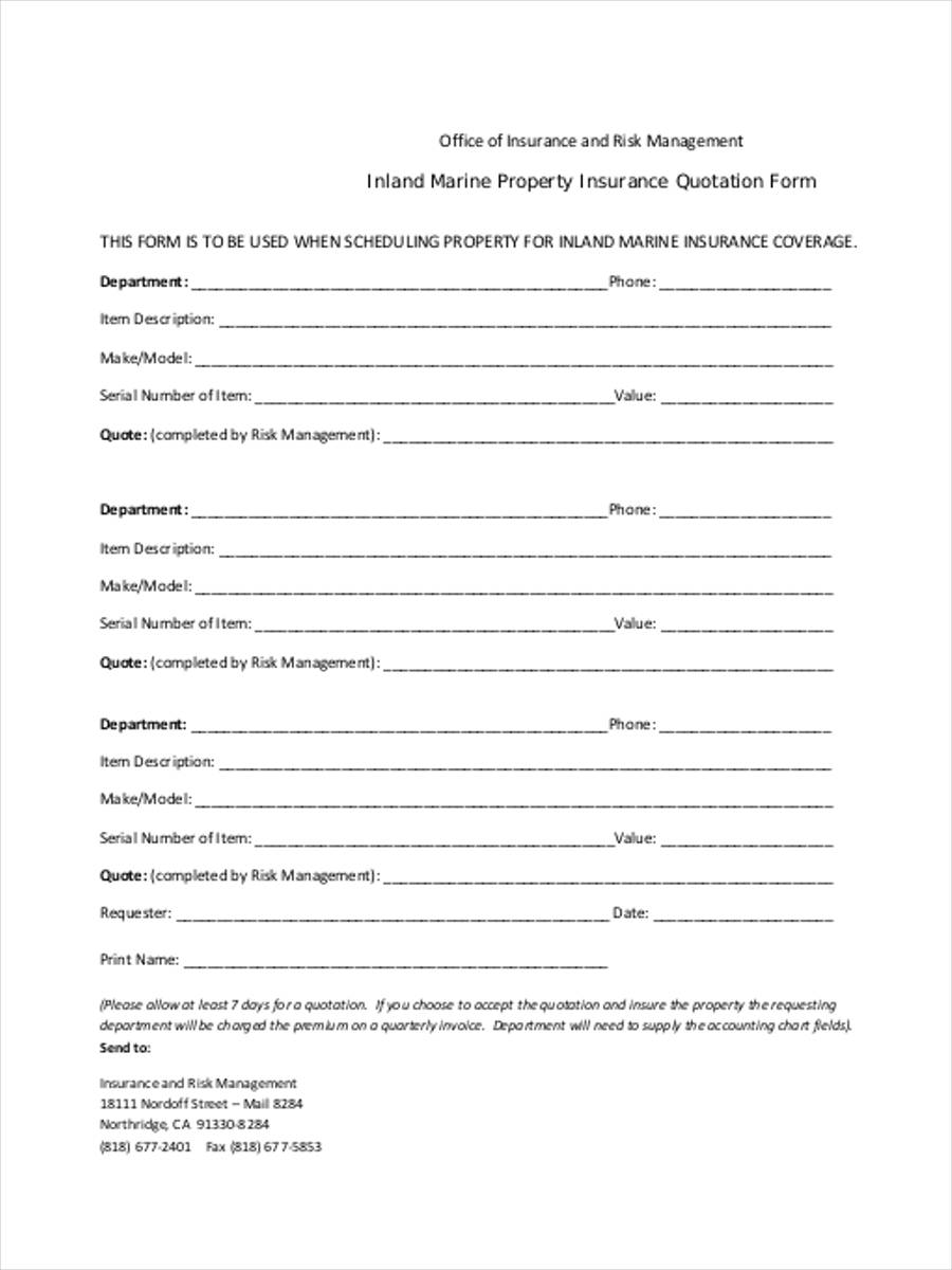 quotation forms sle financial report template free