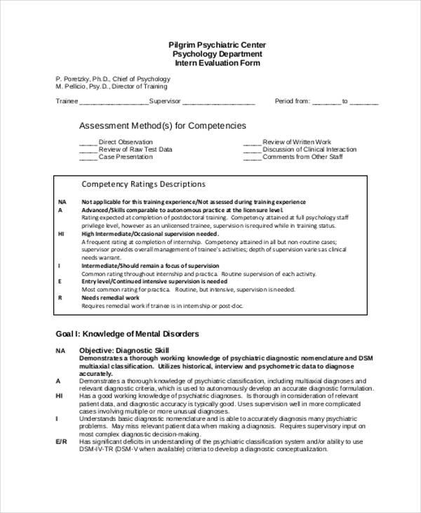 psychology internship interview evaluation form