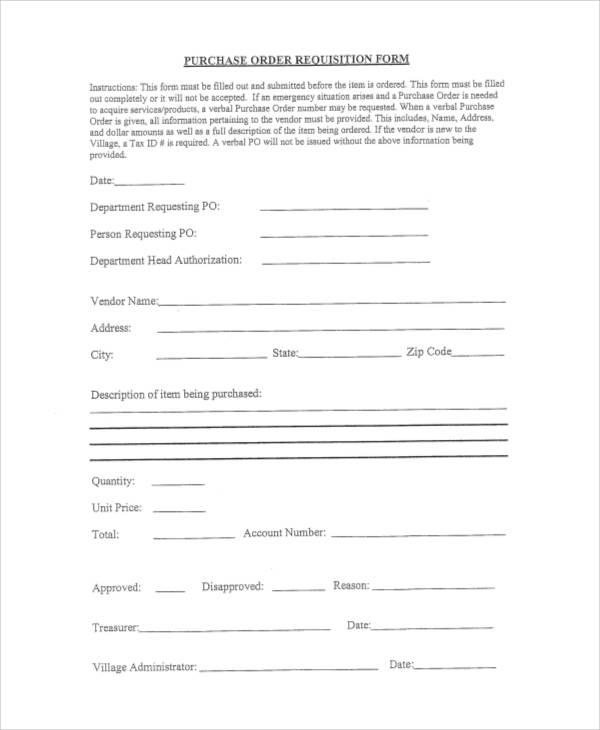 Sample Purchase Requisition Form  BesikEightyCo