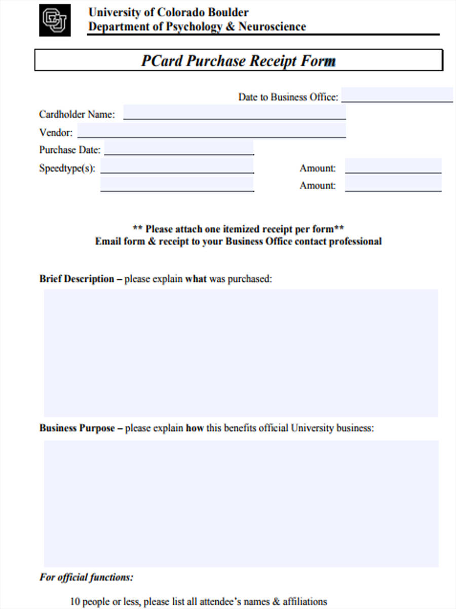 8 Purchase Receipt Form Sample Free Sample Example Format Download – Sample Reciept