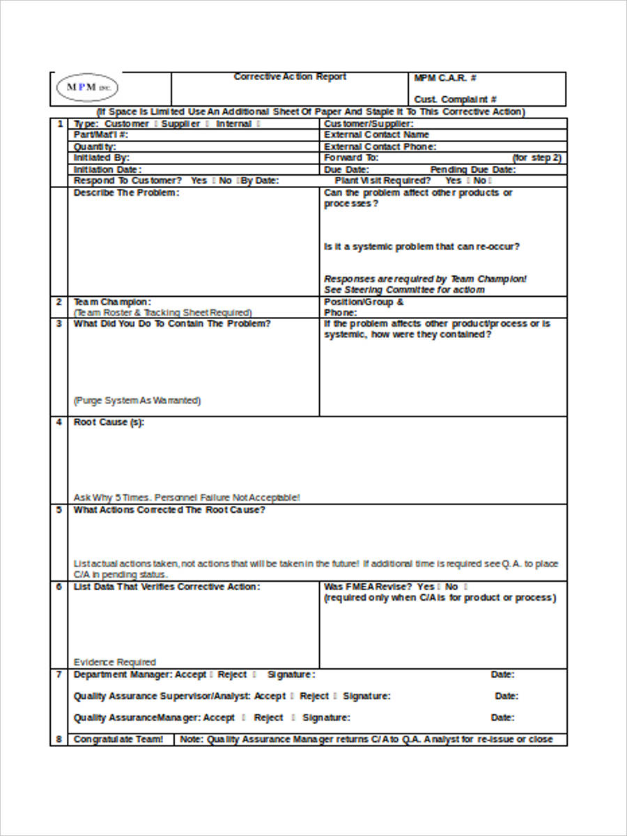 free 21  corrective action form examples in pdf