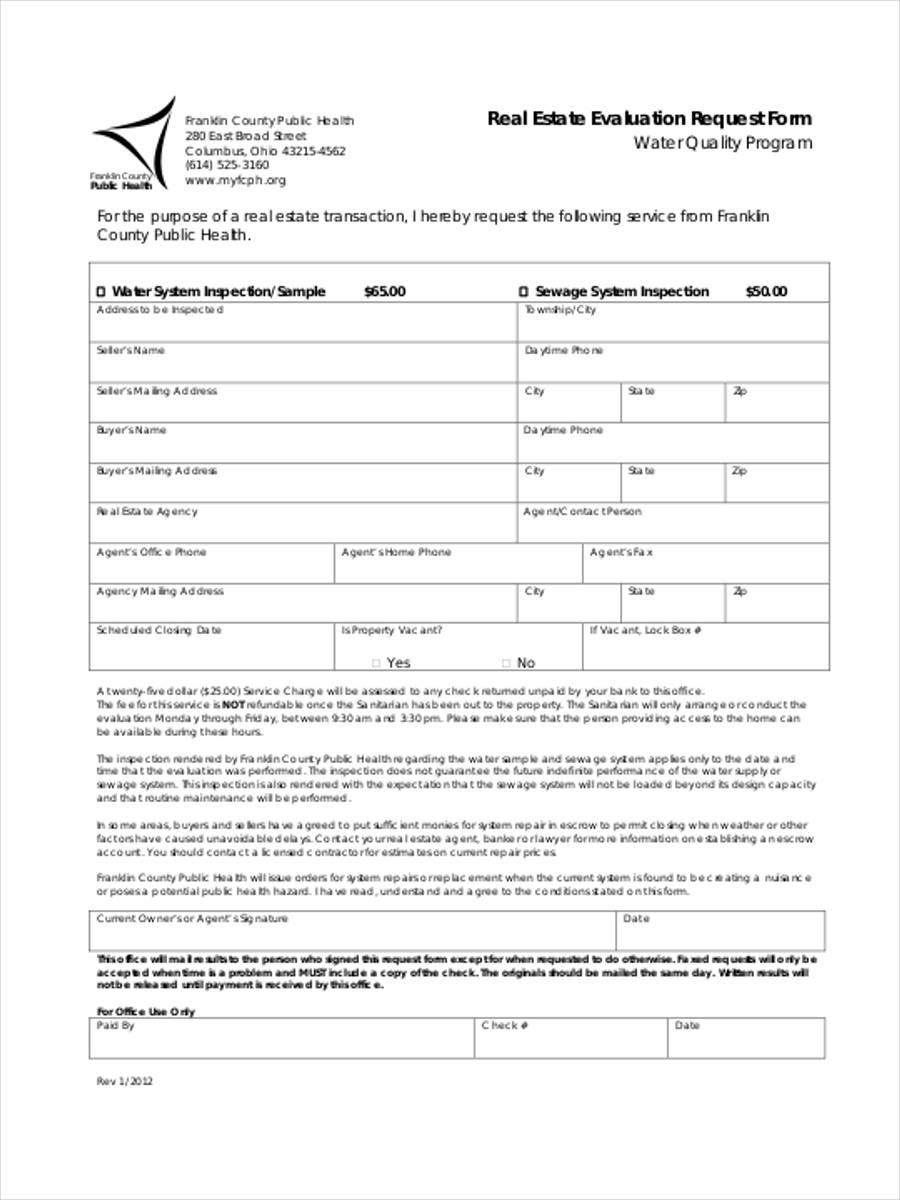 real estate evaluation request form