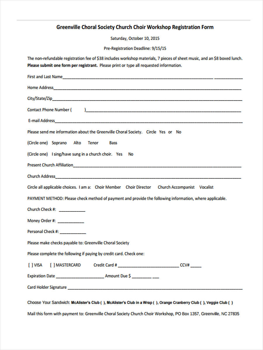 registration form for choir workshop