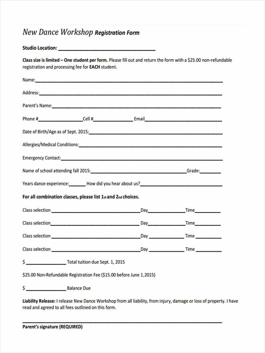 registration form for dance workshop