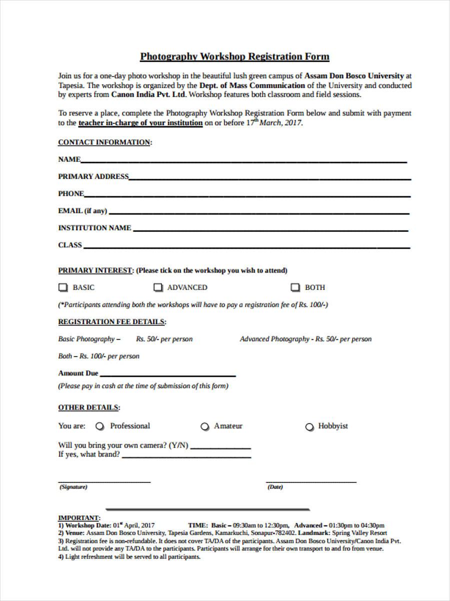 registration form for photography workshop