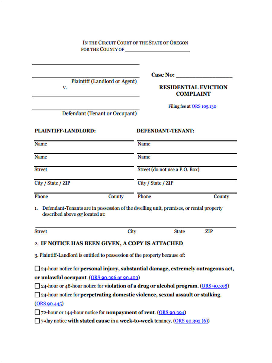 residential eviction complaint