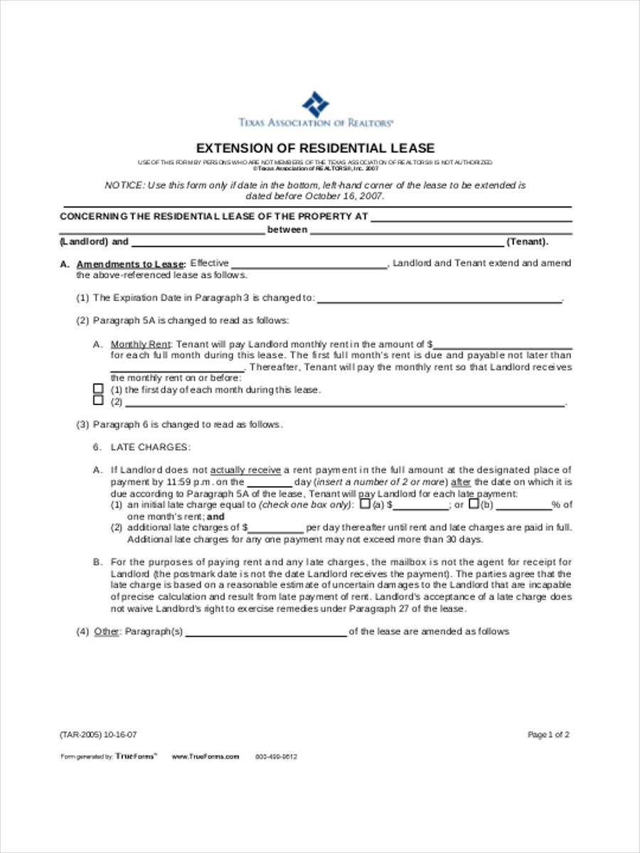 Residential-Lease-Extension Tar Application Form Residential Lease on residential property management, residential application form, residential loan application,