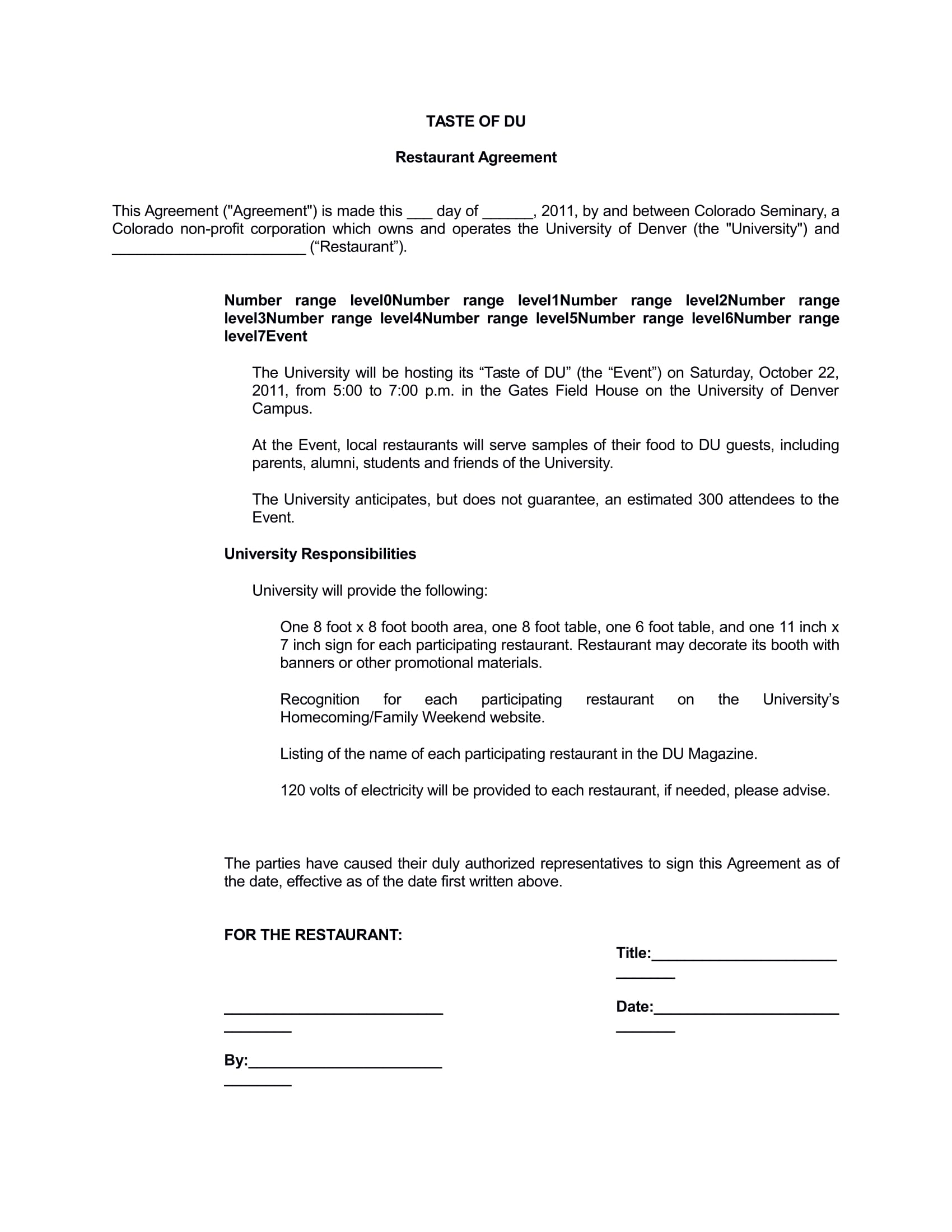 restaurant consulting agreement form 1