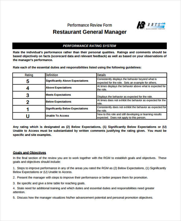 Restaurant Manager Evaluation Template