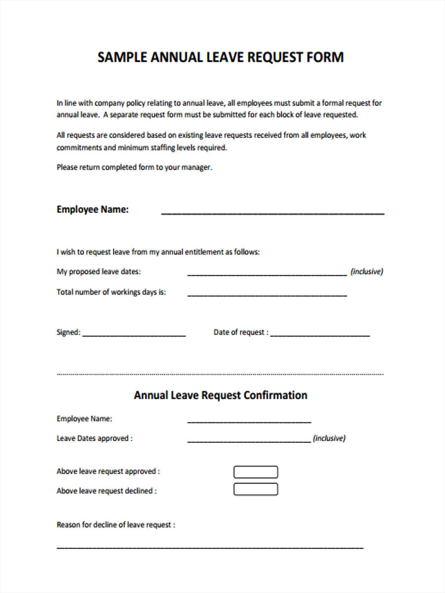 free leave application form template nz  FREE 9+ Leave Request Forms | PDF