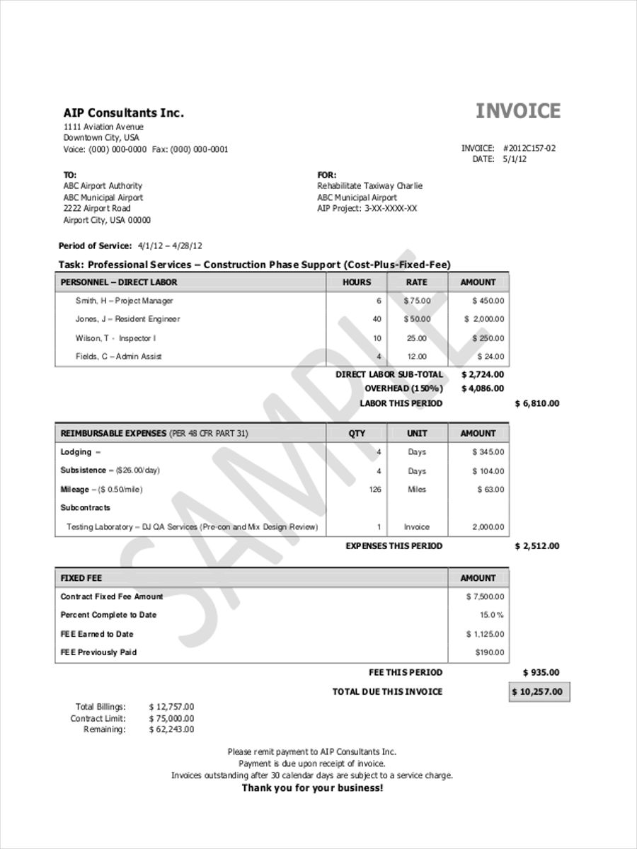 free 5  construction invoice forms in sample  example  format