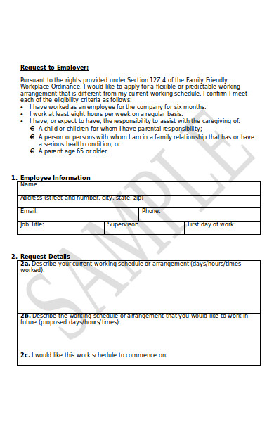 sample employee request form