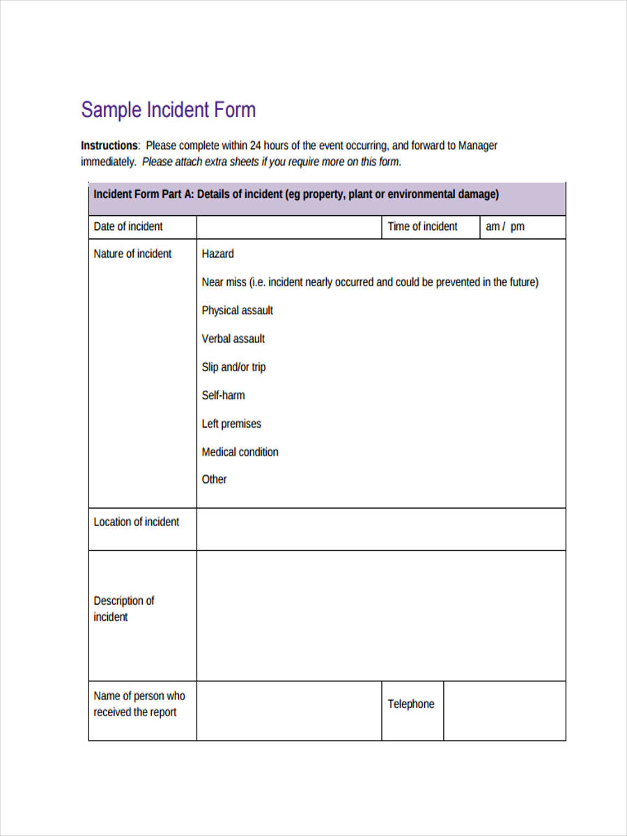 sample incident action form