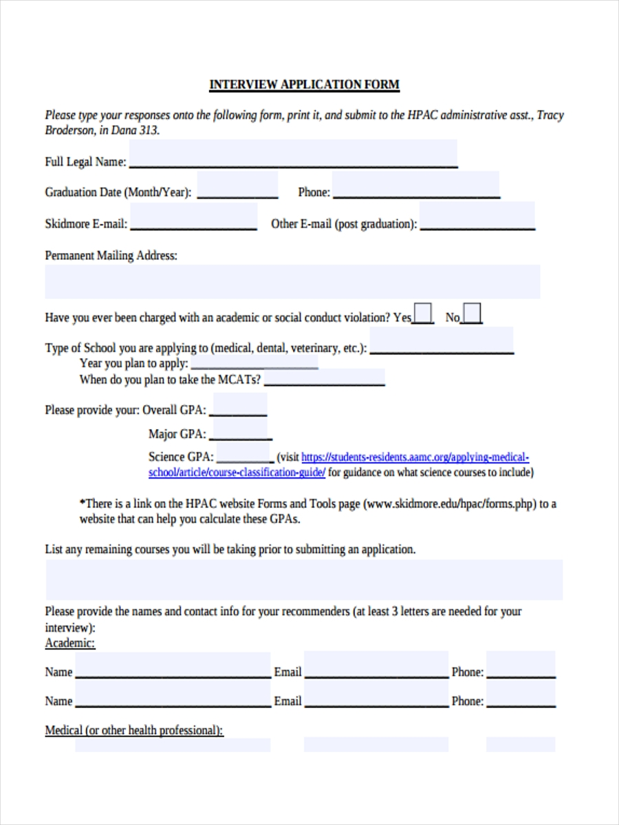 sample interview application