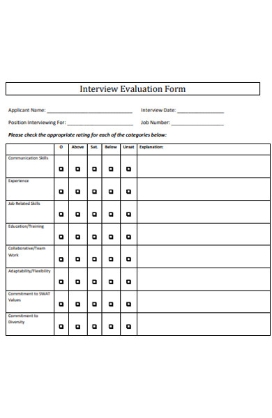 sample interview evaluation form