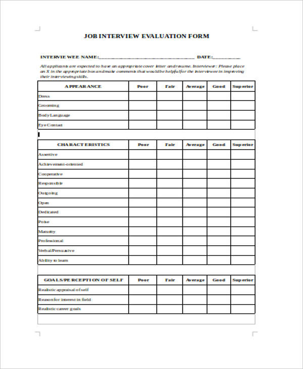 sample job interview evaluation form