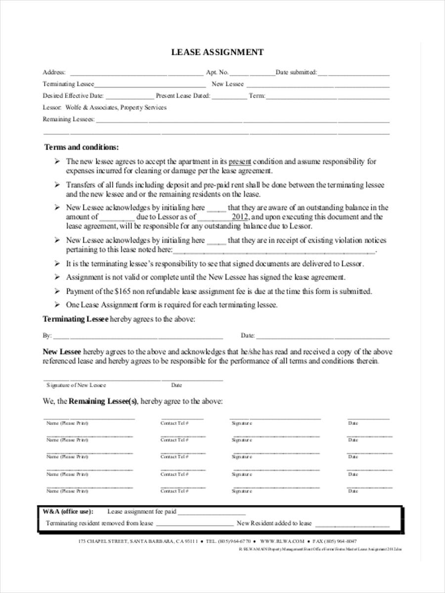 Lease Assignment Agreement Texas Residential Lease Agreement This Agreement  Assignment, Sub Letting Or License