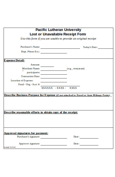 sample lost receipt form